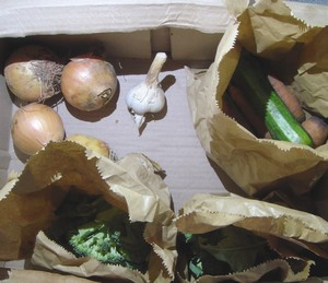 Vegetable box ingredients which need using up soon