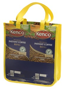 Reusable shopping bag made by TerraCycle from Kenco wrappers