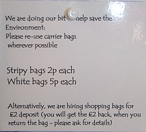 Ladram Bay shop, charging to encourage a reduction in plastic carrier bag use