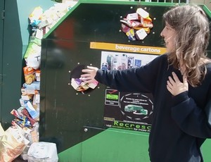 Mrs Green checks out the tetra pak recycling