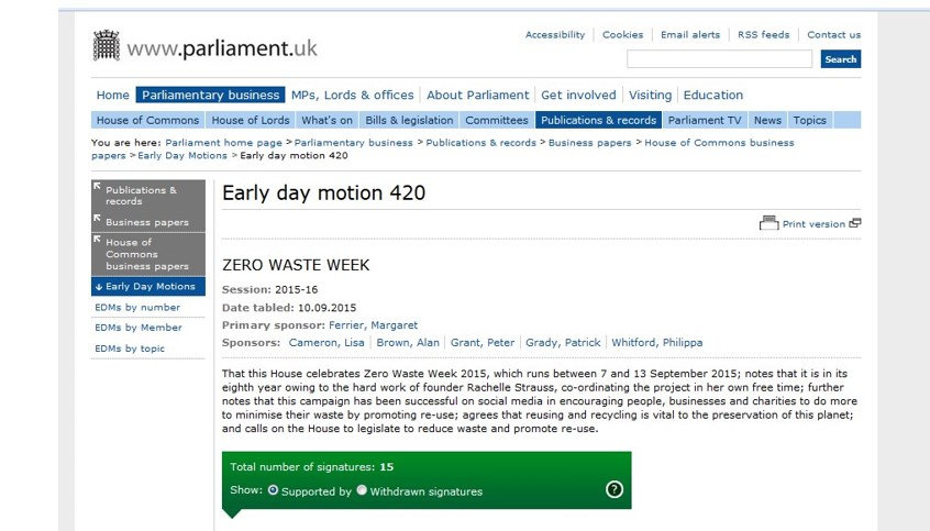 screenshot of early day motion for zero waste week